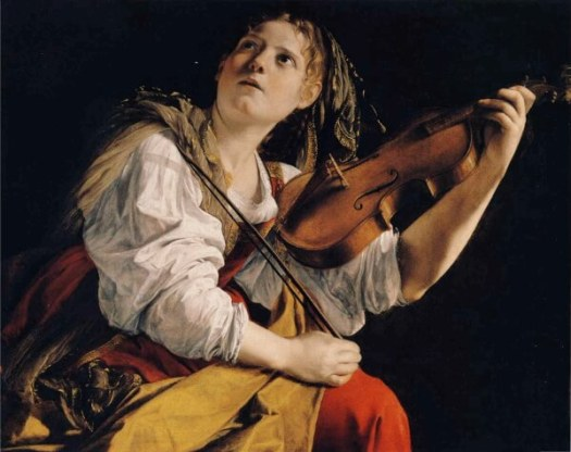 Saturn in Cancer or Capricorn: A young woman against a dark background holds a violin, looking up.