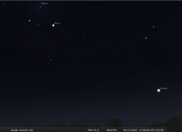 Mars, de Maan en Venus op 5 december