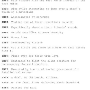How the MBTI Types Will Die   Tumblr