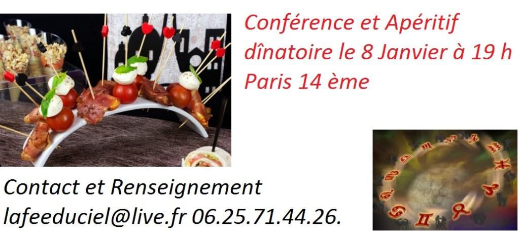 Vendredi 8 Janvier à 19 h Conférence Apéritif Dînatoire  à Paris