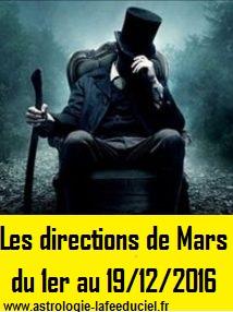 Les directions de Mars du 1er au 19 Décembre 2016