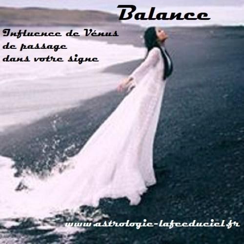Balance Influence de Vénus de passage dans votre signe