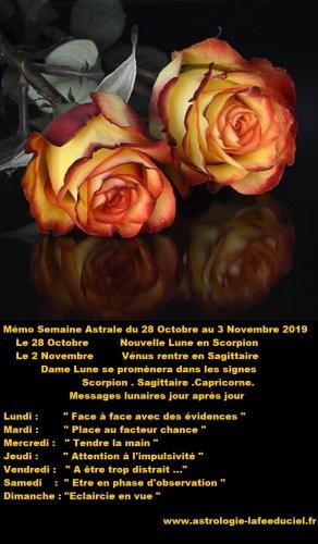 Mémo Semaine Astrale du 28 Octobre au 3 Novembre 2019
