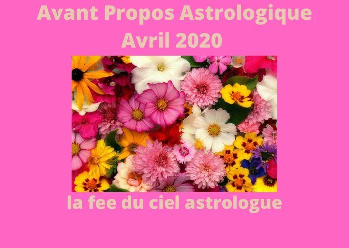 Avant Propos Astrologique Mois d'Avril 2020
