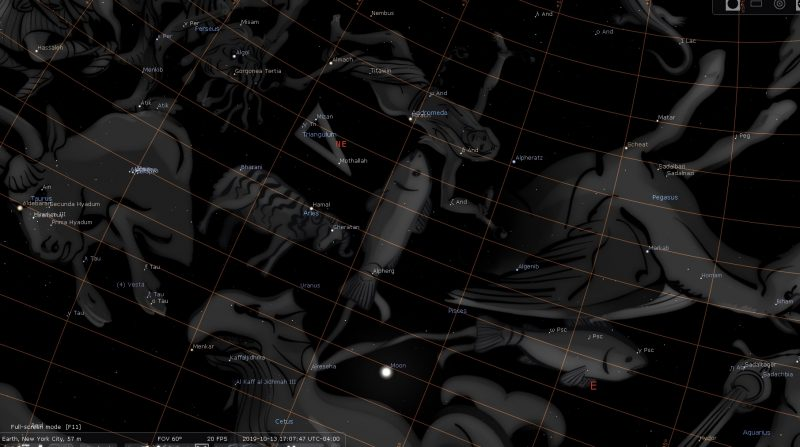 Pleine Lune Octobre 2019 [Stellarium]