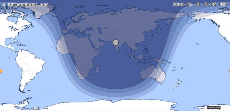 Carte de l'éclipse lunaire de janvier 2020