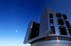Artistic rendering of the LSST dome enclosure at twilight, from lsst.org.