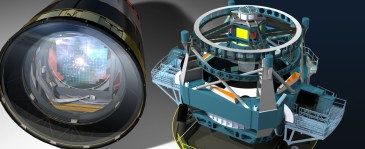 Artistic rendering of LSST's camera (left) and the telescope itself (right), from lsst.org.