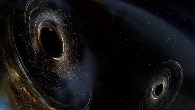 Ilustrasi lubang hitam yang akan bertabrakan. Kredit: LIGO/Caltech/MIT/Sonoma State (AuroreSimonnet)