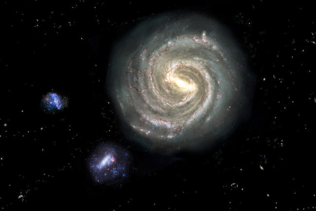 Bima Sakti, Awan Magellan Besar dan Awan Magellan Kecil. Kredit:Nina McCurdy / Nick Risinger / NASA.