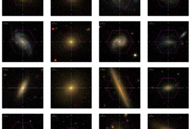 Set data galaksi dekat yang diperoleh MaNGA.  Kredit: SDSS/ Kolaborasi MaNGA