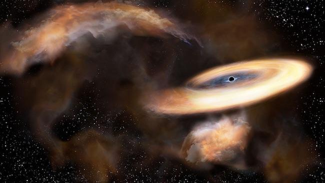 Ilustrasi awan gas yang berputar mengeliling lubang hitam. Kredit: NAOJ