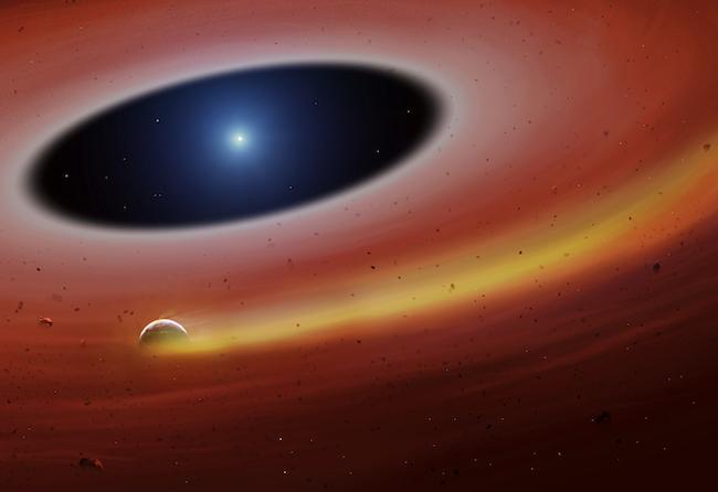 Piringan rerunruthan planet yang mengorbit bintang katai putih. Kredit: Universitas Warwick/Mark Garlick: