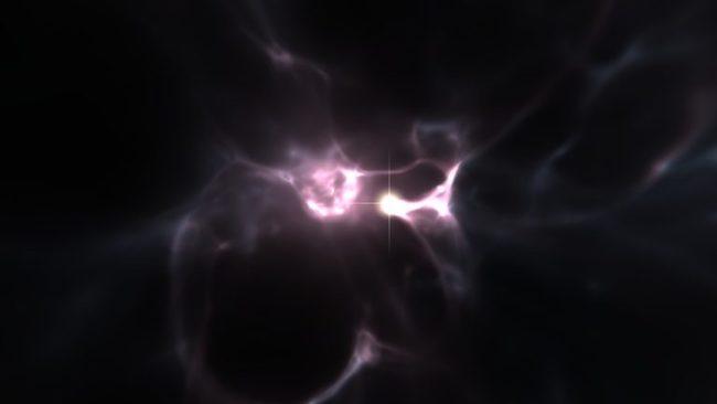 Visualisasi pembentukan bintang generasi pertama. Kredit: Wise, Abel, Kaehler (KIPAC/SLAC)