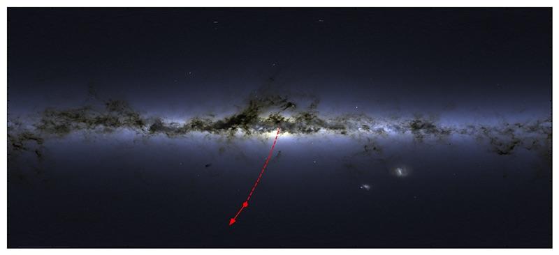 Bintang ultra cepat S5-HVS1 dari arah pusat Bima Sakti. Kredit: James Josephides (Swinburne Astronomy Productions)