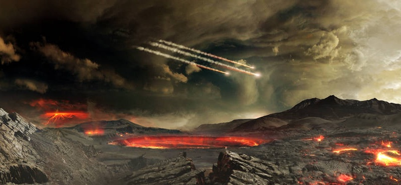 Tabrakan meteorit besar-besaran saat bumi masih muda diduga membawa bumbu penting untuk kehidupan di Bumi. Kredit: NASA's Goddard Space Flight Center Conceptual Image Lab