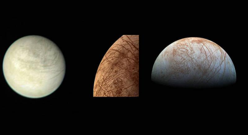 Gambar kiri merupakan pemandangan Europa yang diambil oleh wahana antariksa Voyager 1 dari jarak 2,9 juta kilometer pada 2 Maret 1979. Gambar berikutnya adalah gambar berwarna Europa yang diambil oleh wahana antariksa Voyager 2 saat pertemuan jarak dekatnya pada 9 Juli 1979. Gambar kanan merupakan pemandangan Europa yang dibuat dari berbagai citra yang diambil oleh wahana antariksa Galileo pada akhir 1990-an. Kredit: NASA / JPL