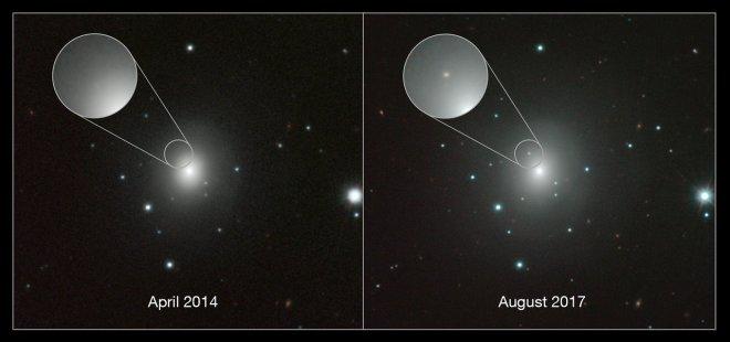 Composite of images of NGC 4993 and kilonova
