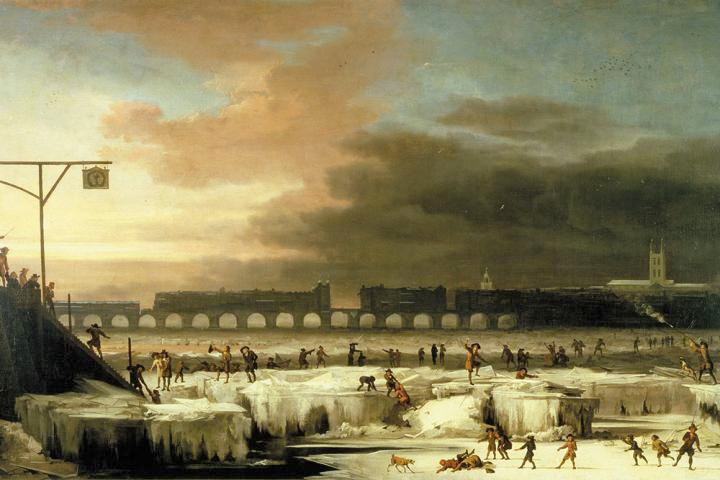"In this 1677 painting by Abraham Hondius, ""The Frozen Thames, looking Eastwards towards Old London Bridge,"" people are shown enjoying themselves on the ice. In 17th century there was a prolonged reduction in solar activity called the Maunder minimum, which lasted roughly from 1645 to 1700. During this period, there were only about 50 sunspots instead of the usual 40-50 thousand recorded. Image credit: Museum of London."