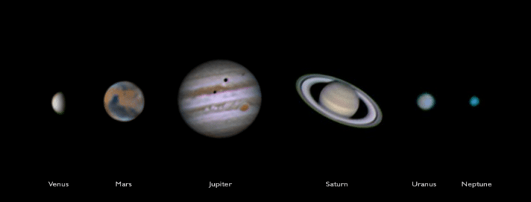 6 planets shot with a Skywatcher 150/750 and a Webcam