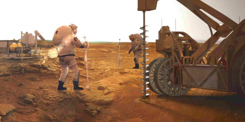 Drilling for ice on Mars (NASA)