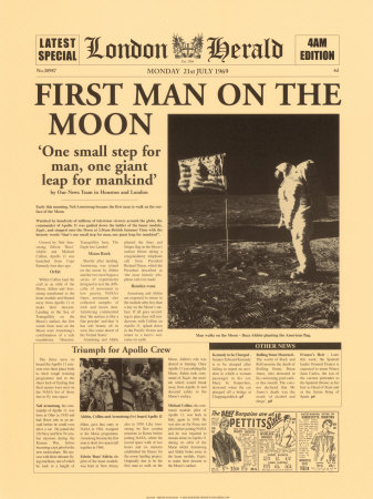 first-man-on-the-moon - newspaper
