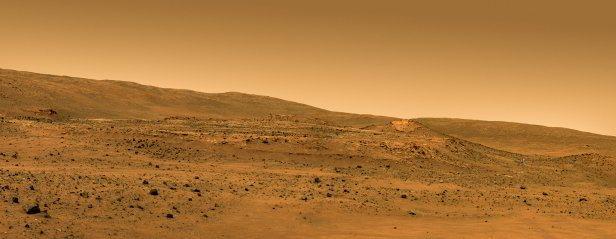 Ilustração: o local de repouso do Spirit na cratera Gusev (NASA/JPL/Cornell/Glen Nagle)