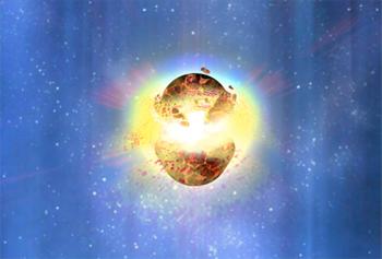Impressão artística da fusão de duas estrelas de neutrões. Pensa-se que as fulgurações de raios gama de curta duração são causadas pela fusão de uma combinação de anãs brancas, estrelas de neutrões ou buracos negros. A teoria sugere que a curta duração se deve à pouca poeira e gás, insuficientes para alimentar um brilho remanescente. Crédito: Parte de uma imagem criada pela NASA / Dana Berry.
