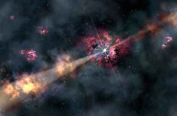Esta ilustração mostra uma explosão de raios-gama a iluminar nuvens de gás interestelar. Crédito: Gemini Observatory/AURA, Lynette Cook