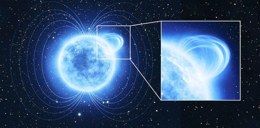 """Impressão artística de uma magnetar com um """"loop"""" magnético. A magnetar SGR 0418 tem um dos campos magnéticos mais intensos do Universo. Para manter um campo magnético tão poderoso, a magnetar tem um interior em convulsão que se manifesta numa pequena região na sua superfície, como se fossem manchas solares. Crédito: ESA/ATG Medialab"""