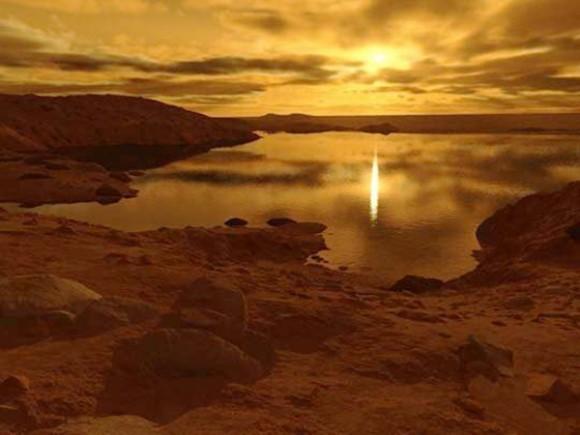 Ilustração de um lago em Titã. Crédito: Ron Miller.