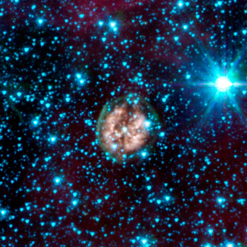 This planetary nebula, located roughly 5,000 light-years away in the Vela constellation, is host to a hot, massive dying star that is rapidly disintegrating, losing its mass.