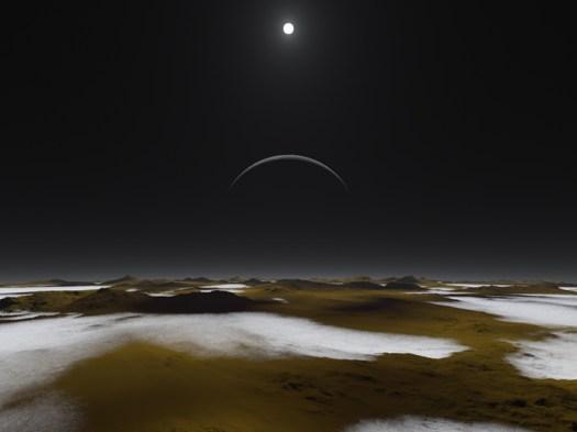 Güneş, Plüton ve uydusu Kharon'dan gezegenimizdekinden 1000 kat daha soluk şekilde gözükür.