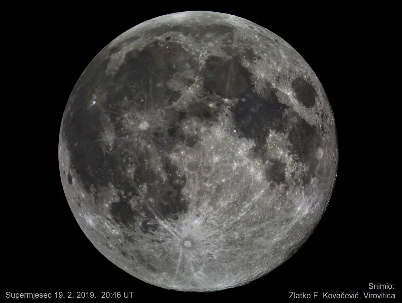 Fotografija supermjeseca snimljena 19. veljače 2019.godine kod Virovitice, Snimio: Zlatko F. Kovačević