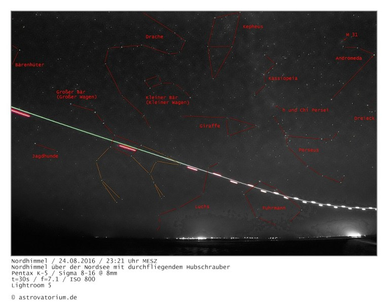 Sternbilder Nordhimmel mit Hubschrauber