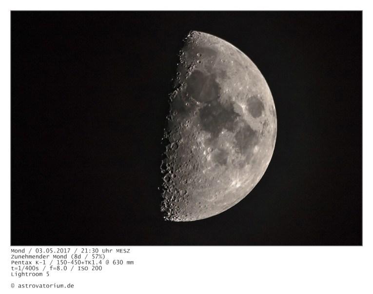 Zunehmender Mond, 8 Tage, 57%