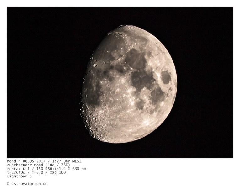 Zunehmender Mond (10d/77%) / 05.05.2017