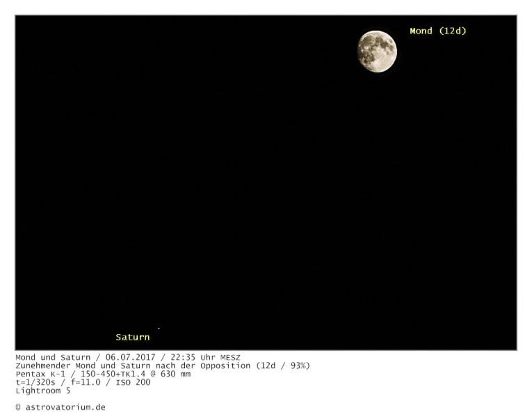 Saturn und zunehmender Mond