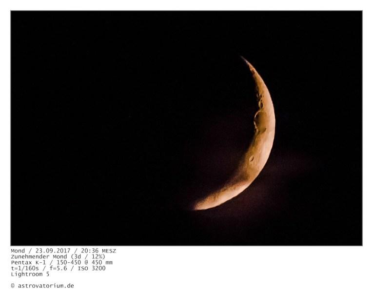 Zunehmender Mond (3d/12%) / 23.09.2017