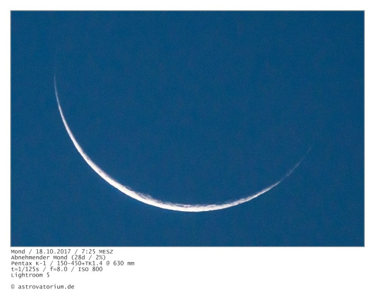 Abnehmender Mond (28d/2%) / 18.10.2017 Ausschnitt