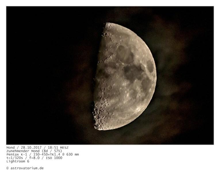 Zunehmender Mond (7d/47%) / 27.10.2017