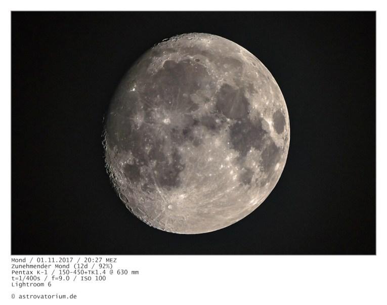 Zunehmender Mond (12d/92%) / 01.11.2017