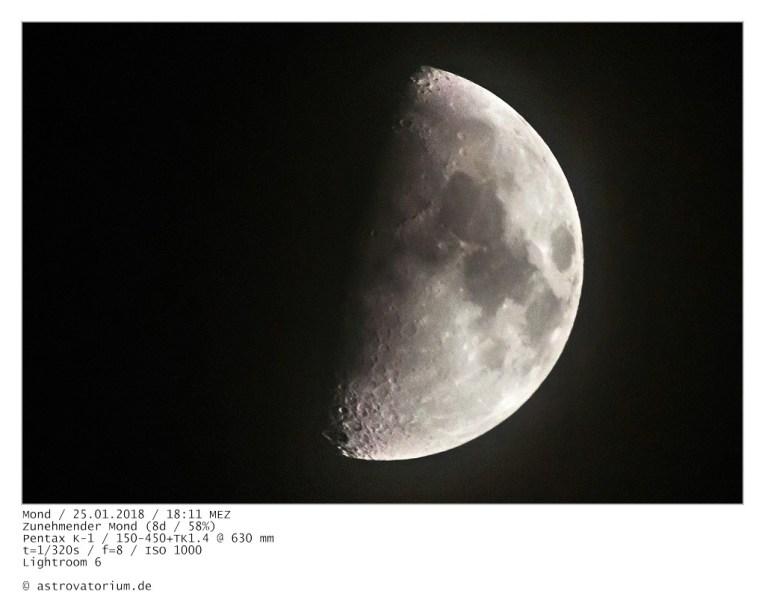 Zunehmender Mond (8d/58%)