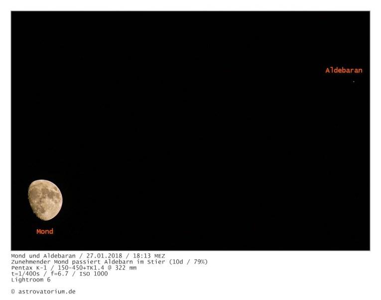 Mond und Aldebaran (Stier) / 27.01.2018