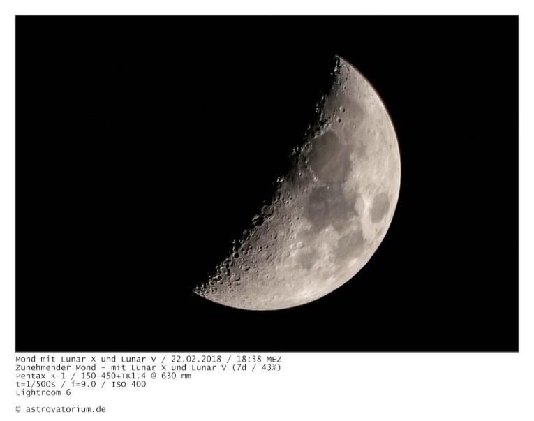 Lunar X, Lunar V, Zunehmender Mond