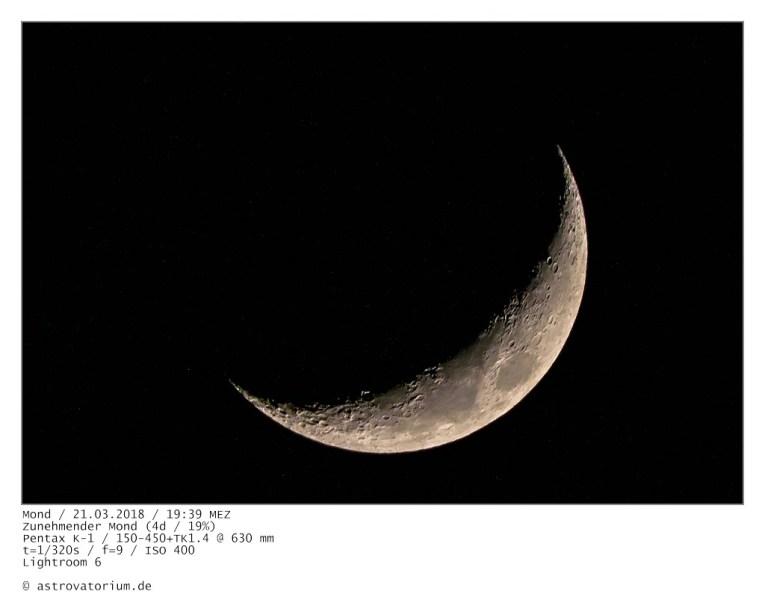 Zunehmender Mond (4d/19%) / 21.03.2018