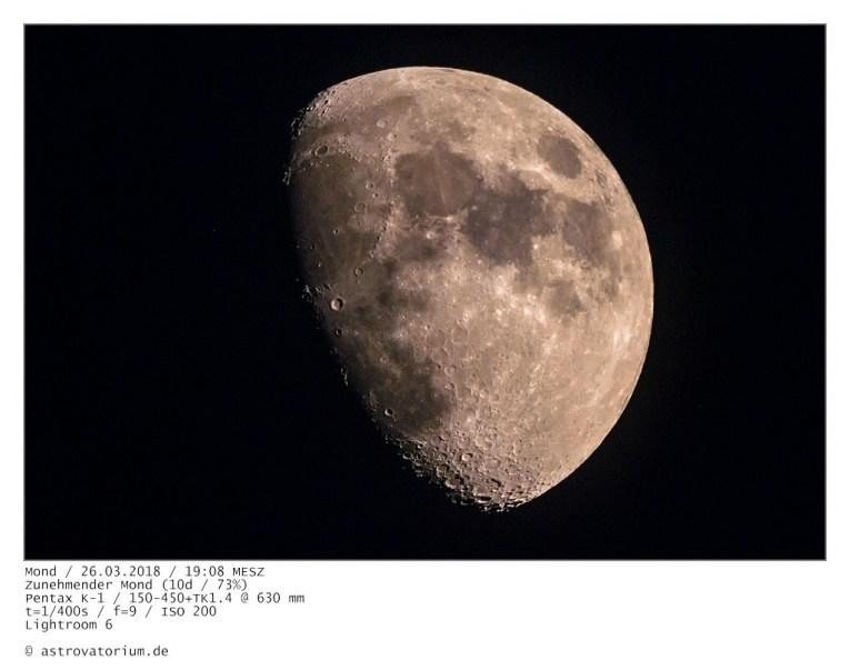 Zunehmender Mond (10d/73%) / 26.03.2018