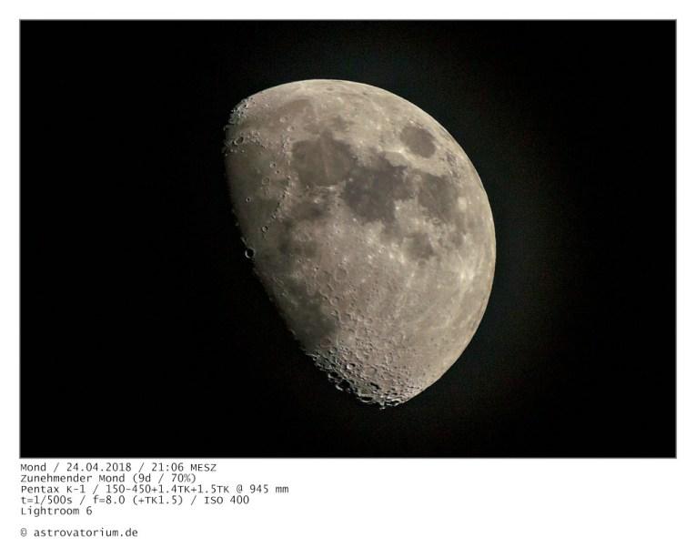 Zunehmender Mond (9d/70%) / 24.04.2018