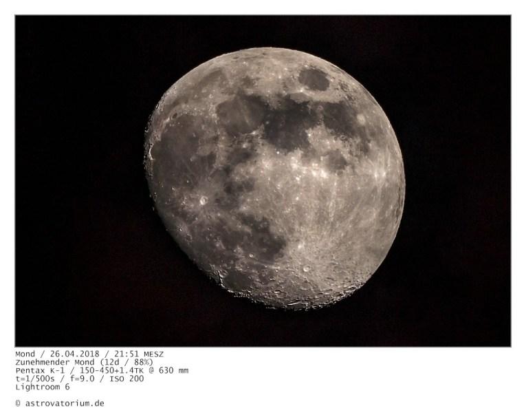 Zunehmender Mond (12d/88%) / 26.04.2018