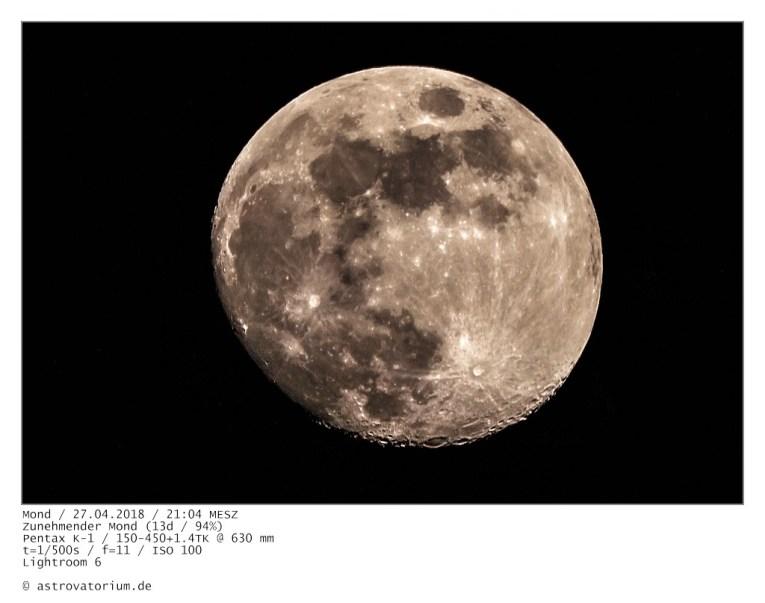 Zunehmender Mond (13d/94%) / 27.04.2018